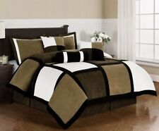 Micro Suede Black Brown White Patchwork 7-Piece Comforter Set, Queen