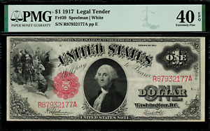 1917 $1 Legal Tender FR-39 - Sawhorse - Graded PMG 40 EPQ - Extremely Fine