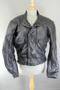BKS BLACK LEATHER THINSULATE THERMAL LINED BIKER JACKET WITH CE ARMOUR 36 INCH