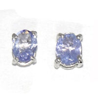 4X5 MM Oval Real Tanzanite Gemstone 925 Sterling Silver Stud Earring SHER0133