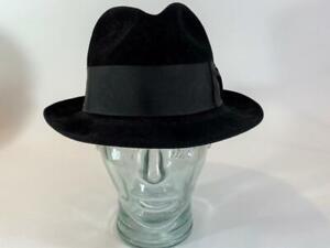 Royal Stetson Fedora Vtg Mens Black Hat 6-7/8 Fur Felt, Lining Protector, EXC