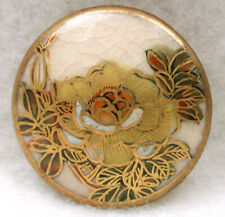 """Vintage Satsuma Button Hand Painted Rose Blossom with Gold Design 7/8"""""""