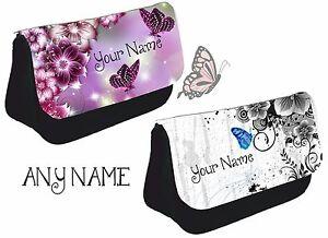 Personalised Butterfly flower Pencil case school make up bag girls purple pink