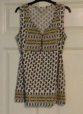 Monsoon Ladies White Black Yellow Paisley Sleeveless Cotton Top UK Size 12