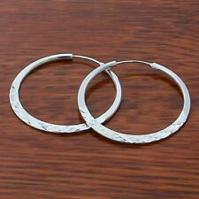 bf756b7b2 Womens Sterling Silver Vogue Diamond Cut 50mm Round Hoop Charm Earrings  #EA279