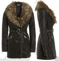 Size 8 10 12 14 NEW Womens BELTED BIKER JACKET FAUX LEATHER FUR Long ZIP Coat