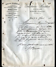 "AHUN (23) QUINCAILLERIE / BOIS de CHARPENTE ""Gustave BERTIN"" en 1911"