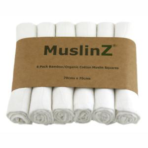 MuslinZ 6PK Luxury Baby Muslin Squares 70x70cm Bamboo/Organic Cotton White