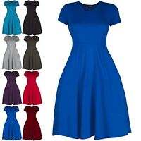 Womens Ladies Pleated Cap Sleeve Flared Franki Swing Skater Mini Dress Plus Size