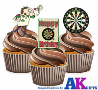 12 X Fun Darts Player Happy Birthday Mix - EDIBLE WAFER CAKE TOPPERS STAND UPS