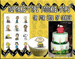 EDIBLE Peanut characters Cake cupcakes Charlie brown pictures stickers toppers