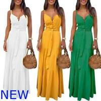 Sundress Casual Womens Evening Sleeveless V Neck Maxi Boho Cocktail Party Dress