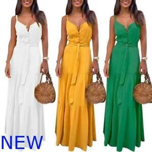 Sundress Casual Womens Evening Sleeveless V Neck Maxi Boho Cocktail Party Dress