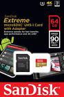 SanDisk Extreme 64GB 90MB/S Class 10 MicroSD MicroSDXC UHS-I U3 Memory Card V30