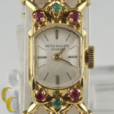 Patek Philippe Vtg 18k Yellow Gold Hand-Winding Watch w/ Ornate Gubelin Band