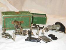 8 Vintage Sewing machine Attachments Singer & Greist w/singer Box
