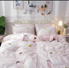 Pink cotton Twin Size For Kids Room Girl's duvet cover 2 Pieces set Cute