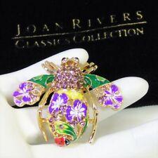 Joan Rivers ORCHID FLOWER BEE PIN BROOCH Purple Crystals Open Metalwork Ladybug