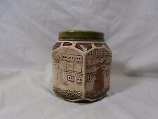 Antique Majolica English Scenic Tobacco Hexagon Shaped Jar Humidor 10321I