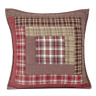 TACOMA Quilted Pillow Log Cabin Block Lodge Rustic Brown/Red Plaid VHC Brands