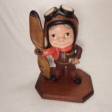 Hand Painted Plaster Pilot With Propeller On Stand (1998) A Must See !