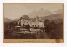 PHOTO ANCIENNE CABINET Château d'Uriage Chaîne de Belledonne Montagnes Vers 1900