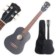 "26"" Black Tenor Ukulele Guitar Basswood 18 Frets Hawaiian Instrument w/ Bag"