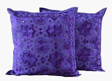 "Indian Pure Cotton Bohemian Square Hippie Cushion Cover 16X16"" Mirror Work Set-2"