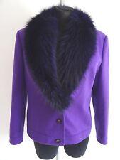 Escada Damen Blazer Jacke Mit abnehmbarem Echtfellkragen Blaufuchs Lila 42 Wolle