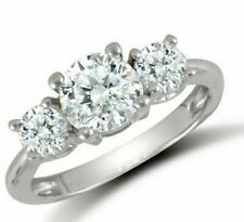9ct White Gold CZ Three Stone Trilogy Ring - UK Jewellers