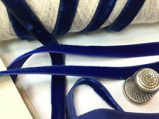Ruban Velours Ancien Bleu Royal En Rayonne 1940-50/ Vintage Velvet Ruban, 1cm