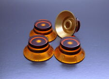 Set of 4 Genuine Epiphone Les Paul Amber Speed Bell Knob Volume Tone Control