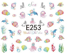 Nail Art Sticker Water Decals Transfers Dolphins Sea (E253)