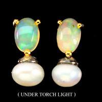 Unheated Oval Fire Opal Rainbow Flash 6x4mm Pearl 925 Sterling Silver Earrings