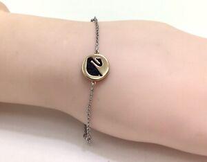 "Fine Crystal Remix Rose Gold Black Swan Rhodium Plated Bracelet, 7""/18cm RRP £49"