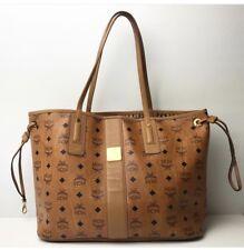 MCM Medium Liz Cognac Coated Canvas Reversible Shopper Bag