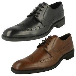 Hommes Maverick Lacet Cuir Bout Rond Semi Richelieu Habillé Chaussures Travail