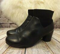 Womens Clarks Un Rosa Black Leather Zip Up Mid Heel Ankle Boots UK 7 D EUR 41