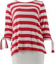 Joan Rivers Striped Tee Tie Cherry 2X # A304463