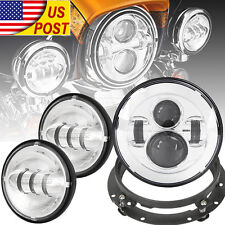 "7"" LED Daymaker Headlight Passing Lights For Harley Davidson Touring Road King"