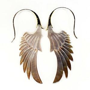 Gray Shell Angel Wing Earrings .925 Sterling Silver Hook Boho Chic Jewelry Gift