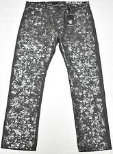 NWT Mens Rocawear Jeans Flap Pocket Foil Splatter Denim Raw Black 38x32 38 N496