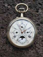 Montre gousset  jour,date, mois et lune # Pocket watch triple date moon#51mm#