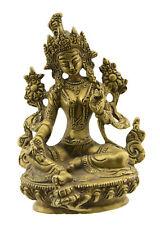 Statue tibetaine de Green Tara Verte Bodhisattva Tibet 14.5cm  Laiton 2426