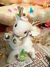 Vtg White Christmas Prancing HOLLY BERRY REINDEER with GOLD BOW TIE Pink FLOWER