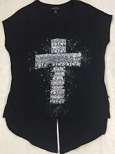 ROCK & REPUBLIC Black Silver Sparkly Cross Hi-Low Sheer Top Shirt Size M Medium
