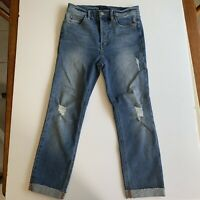 Anthropologie Level 99 High Rise Distressed Raw Hem Cuffed Jeans Size 27