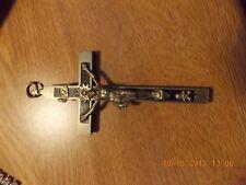 vint antique lge black wood skull cross bones pectoral cross crucifix....#2