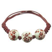 Bracelet femme réglable Perles porcelaine blanche fleurs rouge cordon bordeaux