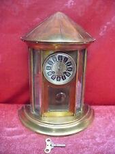 Hermosa, Antiguo Reloj de Chimenea __ Reloj de Péndulo __ Messing-Glas __ 39cm
